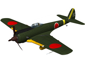 3D model Ki43 Hayabusa type2 oscar