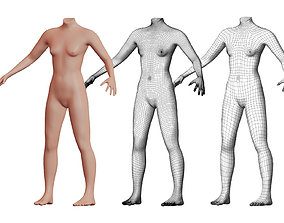 3D model Character 01 High and Low-poly - Body Female