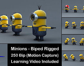 animated 4 Minions 3D Models Rigged with Biped
