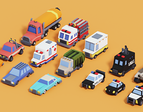 Smooth Low Poly Stylized Vehicle Cars Pack 3D model
