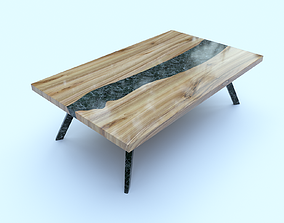 3D model Lacquered table with stone insert