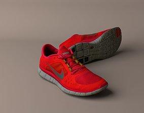 3D model Worn Nike Free Run 3 sneaker