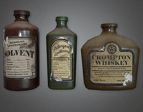 ATT - Old Liqueur Bottles Set Antiques - PBR Game 3D model