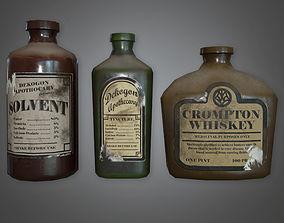 3D asset Old Liqueur Bottles Set Antiques - PBR Game Ready