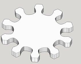 Gear wheel 10 teeth 10cm diameter modul 1cm 3D