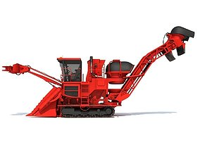 Red Sugar Cane Harvester 3D model