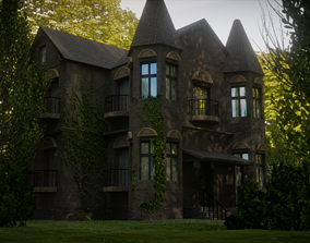 3D asset low-poly PBR mansion Old house
