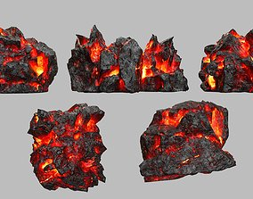 3D asset VR / AR ready Rock Set volcanic