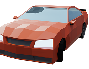 3D model animated realtime Low-Poly Car