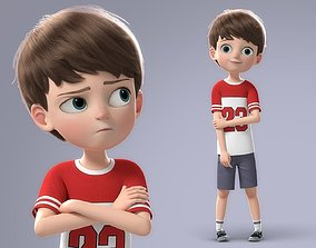 Cartoon Boy Rigged woman 3D model