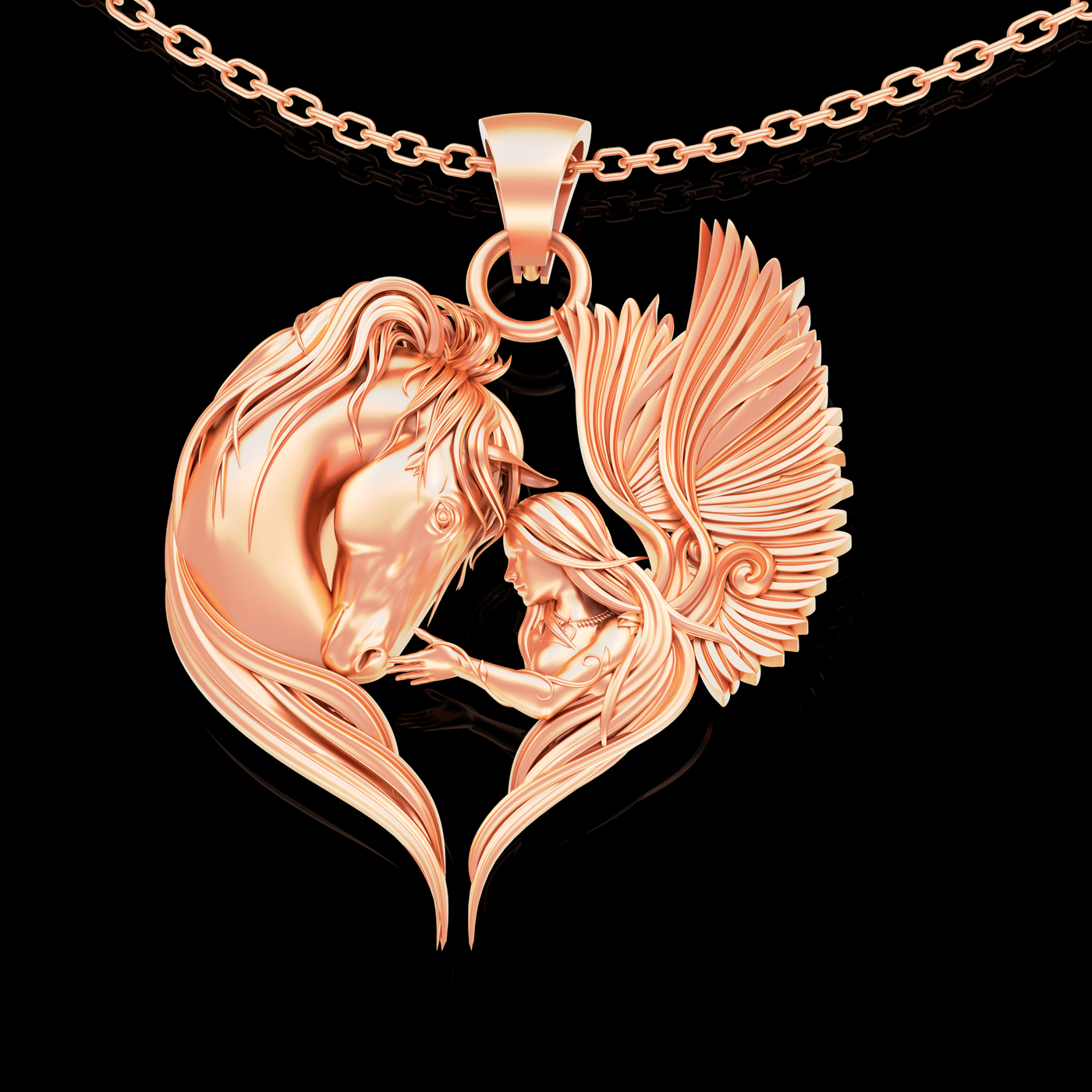 Angel Love To Horse Pendant jewelry Gold 3D print model