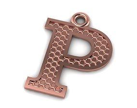 Alphabets Letter P Pendant wedding 3D print model