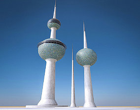 3D model Kuwait Towers
