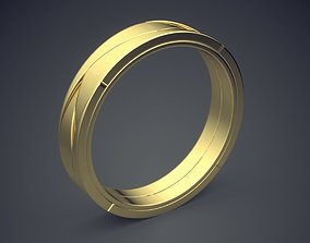 Simple Minimal Golden Ring With 3D printable model 1