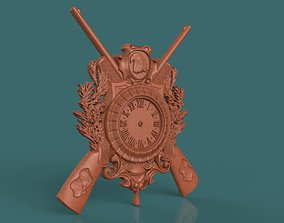 housedecor hunting wall clock 3d stl model for cnc