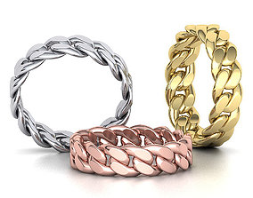 Cuban Link Chain Ring Stackble Ring 6mm 3D print model