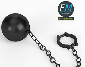 Ball and chain with shackle 3D model