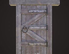 low-poly Wooden door model