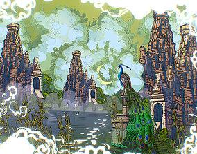3D asset Animated Vector Paralax Landscape Asia