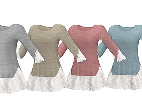 Sweater with Lace Frills 3D model
