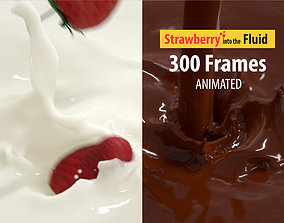 3D model falling Strawberry into Milk and Chocolate 1
