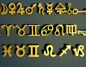 3D model Zodiac Magic Symbols