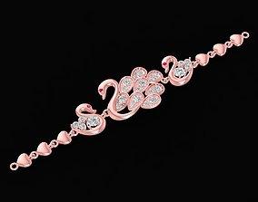 3D printable model diamond swan bracelets for women 939