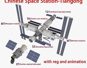 3D model Chinese Space Station Tiangong TG CSS