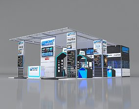 3D Exhibition Stand 14x8m Height 410 cm 3 Side Open
