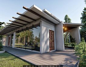 3D asset low-poly modern house 3