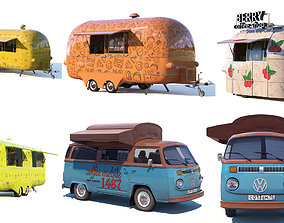 3D Street food and coffee trucks