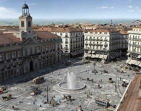 3D model animated Plaza Puerta del Sol de Madrid