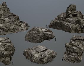 3D model low-poly cliff rocks set