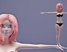 3D asset girl in Black Bikini cartoon