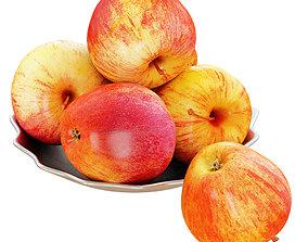 3D model Apples in a Metal Plate