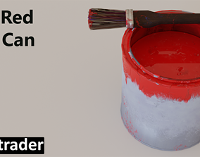 3D model Used Red Paint Can with Brush