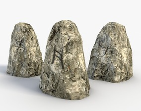 3D asset Low Poly Runestones