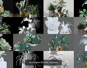 set of plants 001-005 3D