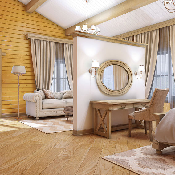 Bedroom interior in a wooden cottage in Volgograd