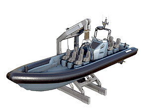 3D asset MILITARY INFLATABLE BOAT
