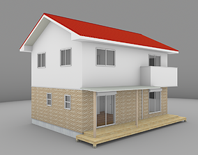 House model for background 01 3D asset low-poly