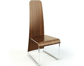 Wooden Chair On Steel Legs 3D