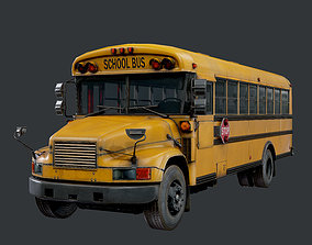 School Bus Low Poly Game Ready 3D asset