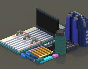 VR / AR ready School Supplies Voxel Model