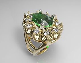 ring with diamonds and emeralds 3D printable model