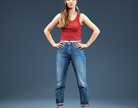 3D asset Baggy Jeans Girl Red Top Hands in Side
