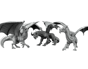 rpg 3D print model 3 dragons