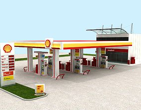SHELL Gas Petrol Station High Details 3D model station