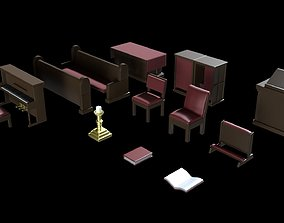 Church Furniture Asset Pack V2 low-poly