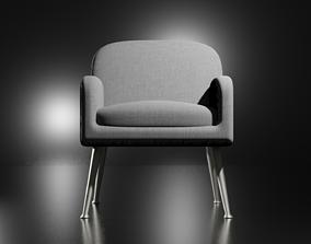 3D asset Wide Linen Armchair
